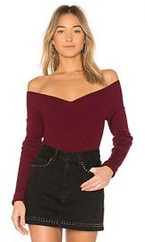 525 america Rib Double V Criss Cross Sweater in Black Cherry from Revolve com at Revolve
