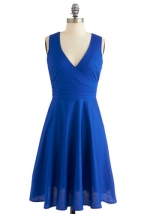 Vneck blue dress at Modcloth