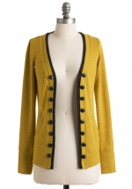 Mindy's yellow cardigan at Modcloth