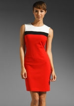 Tina's red and white dress at Revolve
