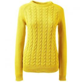 \'Drifter\' Cable Knit Sweater in Sunny Yellow by Lands End at Lands End