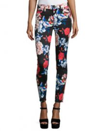 7 For All Mankind The Mid-Rise Ankle Skinny Jeans  Peony Floral at Neiman Marcus