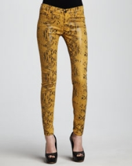 7 For All Mankind The Skinny Amber High Gloss Snake-Print Jeans at Neiman Marcus