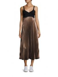 A L C  - Alba Metallic Pleated Midi Dress at Saks Fifth Avenue