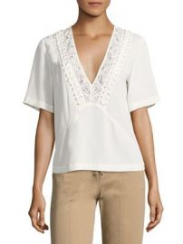 A L C  - Annora Lace-Up Silk Top at Saks Fifth Avenue