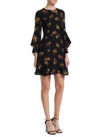 A L C  - Cassidy Silk Ruffle Bell-Sleeve Mini Dress at Saks Fifth Avenue