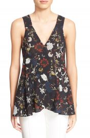 A L C   Purcell  Floral Print Sleeveless Silk Top at Nordstrom