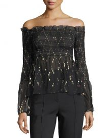 A L C  Agra Off-the-Shoulder Top with Metallic   Neiman Marcus at Neiman Marcus