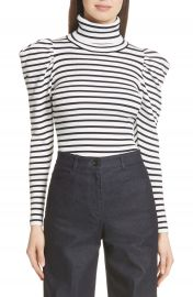 A L C  Baker Stripe Mutton Sleeve Sweater at Nordstrom