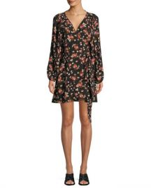 A L C  Carlo Floral Silk Wrap Dress at Neiman Marcus