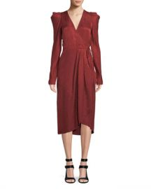 A L C  Carolina Pleated Long-Sleeve Silk Wrap Dress at Neiman Marcus