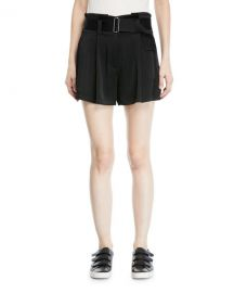 A L C  Deliah High-Waist Drapey Sateen Shorts at Neiman Marcus