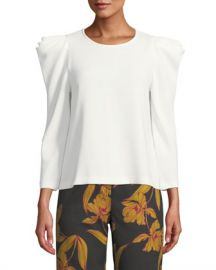 A L C  Farren Strong-Shoulder Crepe Top at Neiman Marcus