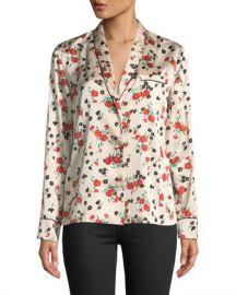 A L C  Leomie Floral-Print Silk Button-Front Top at Neiman Marcus