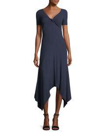 A L C  Reva Twist-Front Short-Sleeve A-Line Rib-Knit Dress   Neiman at Neiman Marcus