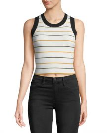 A L C  Rita Striped Ribbed Crop Top at Neiman Marcus