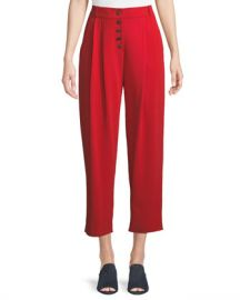 A L C  Russel Cropped Button-Fly Crepe Pants at Neiman Marcus