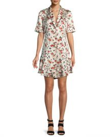 A L C  Ruthie Floral Stretch-Silk Button-Front Dress at Neiman Marcus