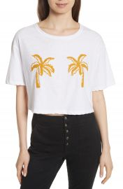 A L C  Teagan Palm Embroidered Crop Tee at Nordstrom