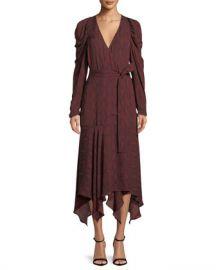 A L C  Tianna Snake-Print Long-Sleeve Wrap Dress at Neiman Marcus