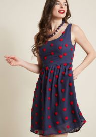 A-Line Dress with Pockets and Heart Appliques at ModCloth