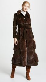 A W A K E  Faux Fur And Corduroy Belted Coat at Shopbop