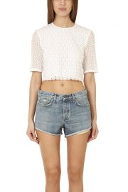 A.L.C. Fremont Eyelet Crop Top at Blue and Cream