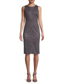 ADRIANNA PAPELL - SCUBA SUEDE SHEATH DRESS at Lord & Taylor