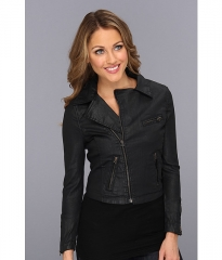 AG Adriano Goldschmied The Coated Biker Jacket Black Slick at Zappos