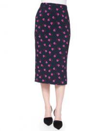 ALC Bell Mallow-Print Midi Pencil Skirt at Neiman Marcus