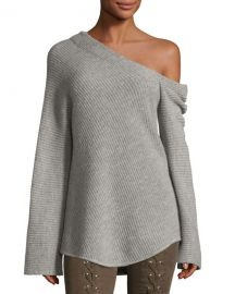 ALC Charly One-Shoulder Long-Sleeve Wool Sweater   Neiman Marcus at Neiman Marcus
