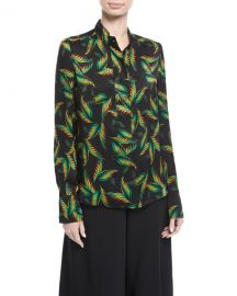 ALC Gosford Button-Front Printed Silk Top at Neiman Marcus