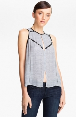 ALC Hamilton Print Embellished Silk Top at Nordstrom