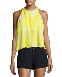 ALC Jasper Silk Sleeveless Top  Yellow Pattern at Neiman Marcus