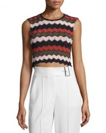 ALC Leo Sleeveless Zigzag Crop Top ArmyPrimroseBlack at Neiman Marcus