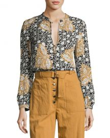 ALC Lox Printed Silk Top  Multiprint at Neiman Marcus