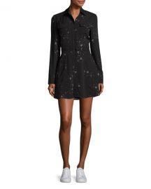 ALC Pedro Long-Sleeve Silk Star Shirtdress  Black at Neiman Marcus