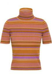 ALC STRIPED RIBBED MERINO WOOL-BLEND TURTLENECK TOP at The Outnet