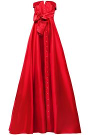 ALEXIS MABILLE - BOW-DETAILED SATIN-TWILL GOWN - RED at Net A Porter