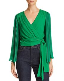 ALICE  OLIVIA BRAY PLEATED-SLEEVE SILK WRAP TOP at Bloomingdales