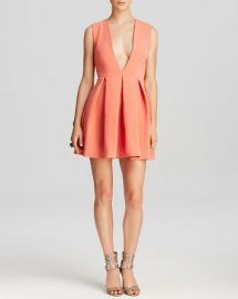 AQAQ Dress - Vicious Deep V-Neck Mini Fit and Flare at Bloomingdales