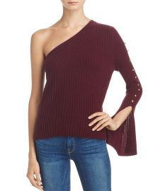 AQUA Cashmere Ribbed One Shoulder Sweater Purple at Bloomingdales