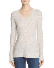 AQUA Cashmere V-Neck Sweater Ash Nep at Bloomingdales