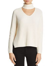 AQUA Cutout Turtleneck Sweater x at Bloomingdales