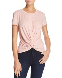 AQUA Distressed Twist-Front Tee in Blush at Bloomingdales