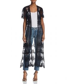 AQUA Embroidered Mesh Tie-Front Duster Cardigan in Black at Bloomingdales