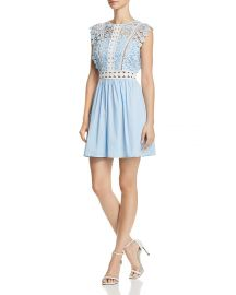 AQUA Lace  amp  Poplin Fit-and-Flare Dress at Bloomingdales