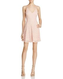 AQUA Lace Cross-Back Dress in Pink at Bloomingdales