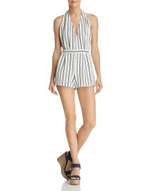 AQUA Striped Halter Romper at Bloomingdales