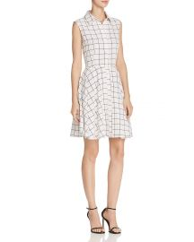 AQUA Windowpane Shirt Dress x at Bloomingdales